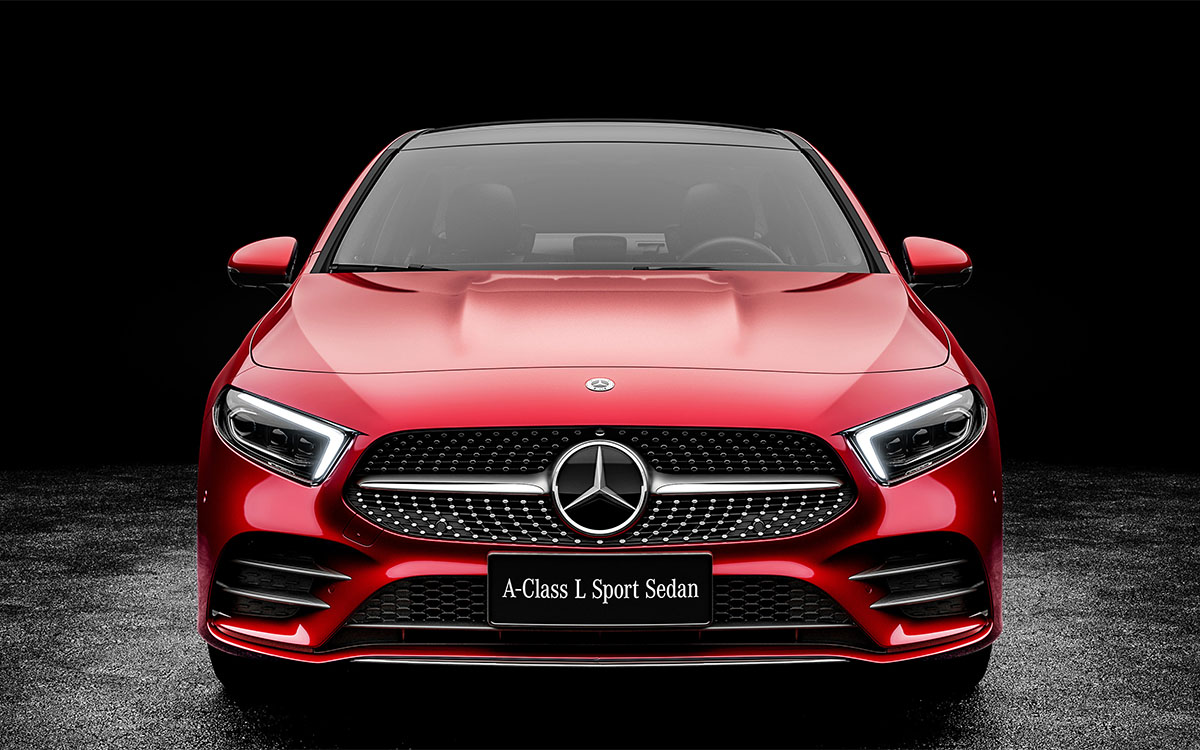 Mercedes Benz A Class L Sedan frontal fx