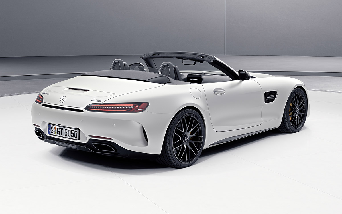 AMG GT C Roadster 50 Edition Blanco Trasera fx