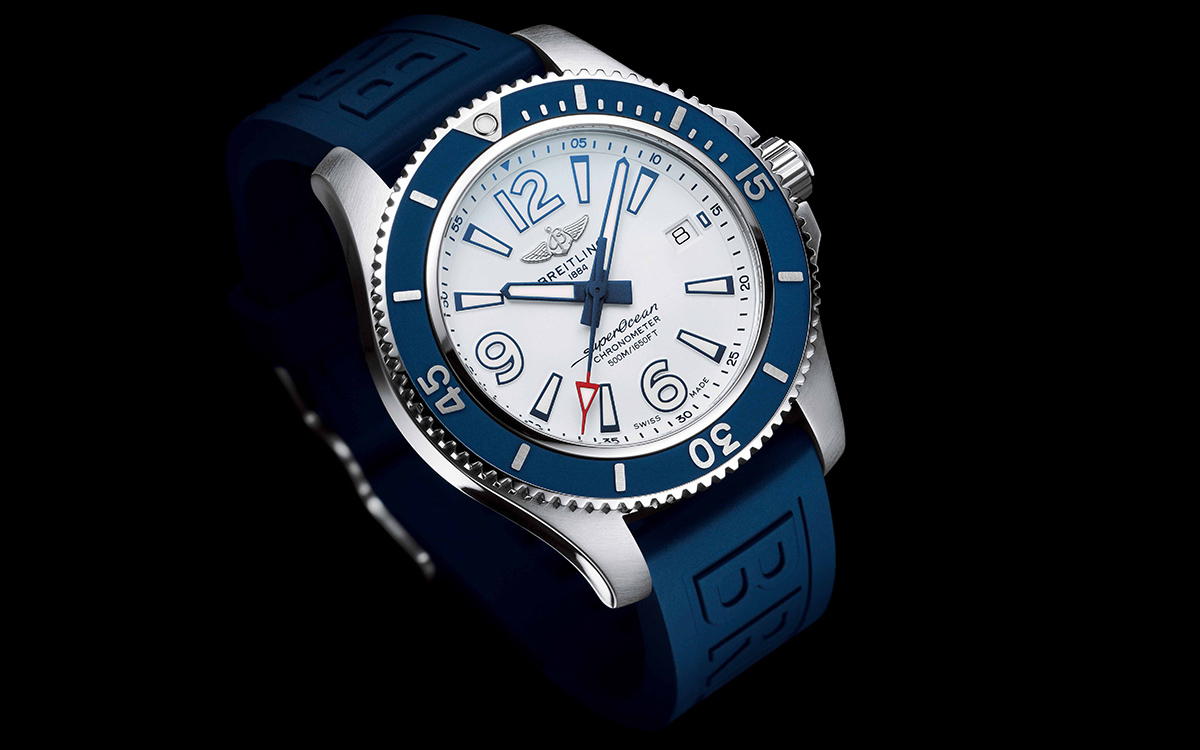 Superocean 42 with white dial and blue Diver Pro III rubber strap fx