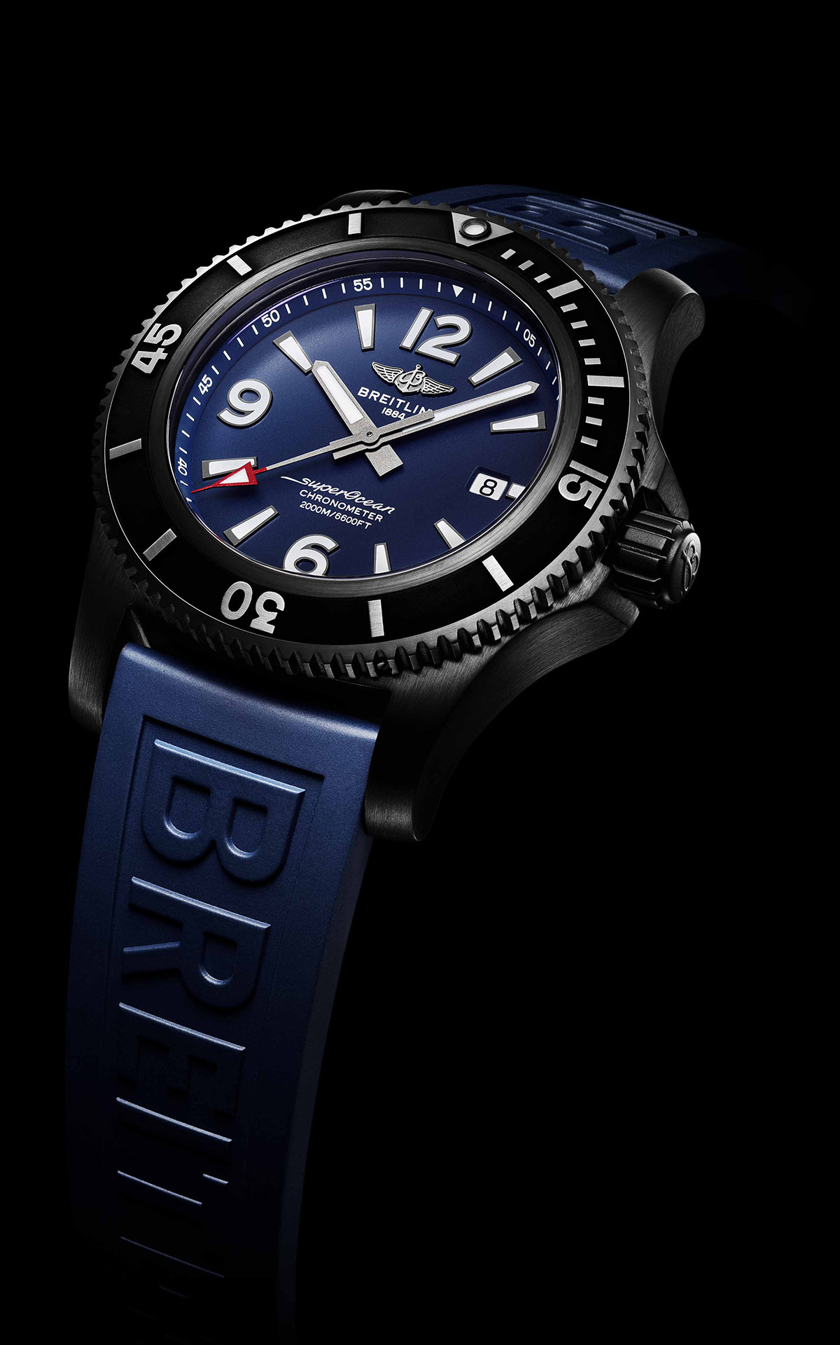 Superocean 46 in black steel with blue dial and blue Diver Pro III rubber strap fx
