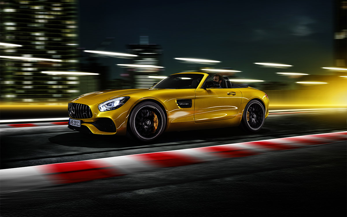 Mercedes AMG GT S Roadster lateral ruta fx