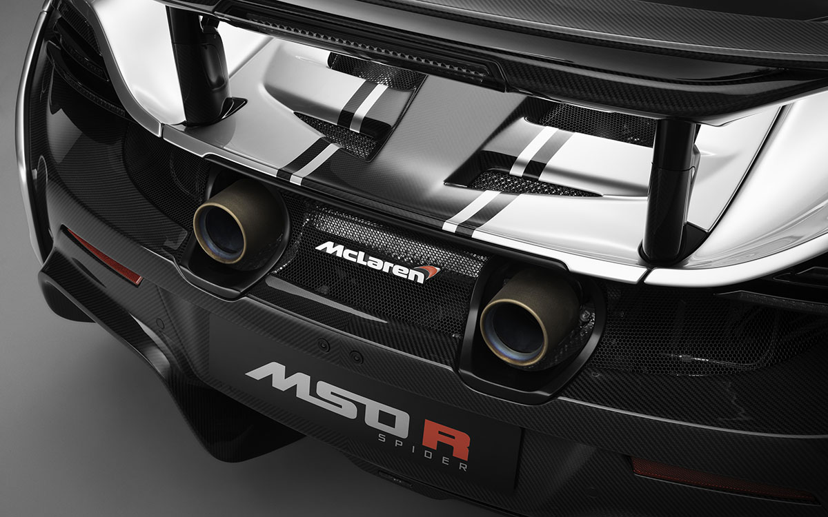 McLaren MSO R detalle escapes fx