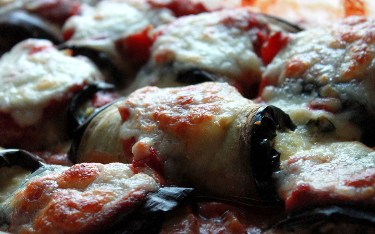 Rollitos de berenjenas al horno